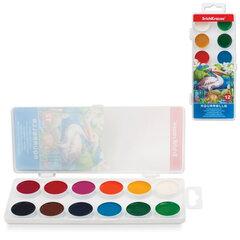 """Краски акварельные ERICH KRAUSE """"School"""", 12 цветов, медовые, пластиковая коробка с европодвесом"""