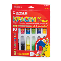 Краски по стеклу (витражные) BRAUBERG, 10 цветов по 20 мл (2 флуоресцентные, 2 с блестками), книга шаблонов, клей