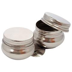 Масленка металлическая двойная с крышкой, диаметр 4,2 см, высота 2 см