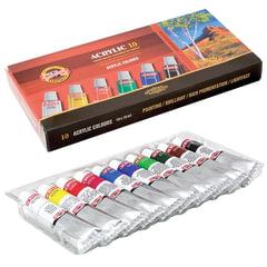 """Краски акриловые KOH-I-NOOR """"Пейзаж"""", 10 цветов по 16 мл, картонная коробка"""