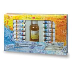 """Краски масляные художественные """"Ладога"""", 12 цветов, туба по 18 мл + масло льняное 120 мл + 2 кисти"""