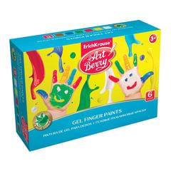"""Краски пальчиковые ERICH KRAUSE """"Artberry"""", 6 цветов по 100 мл, на водной основе, картонная коробка"""