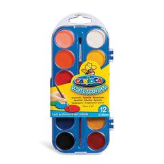 """Краски акварельные CARIOCA """"Watercolor"""", 12 цветов, с кистью, пластиковая коробка, европодвес"""