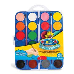 """Краски акварельные CARIOCA """"Watercolor"""", 24 цвета, 2 кисти, пластиковая коробка, европодвес"""