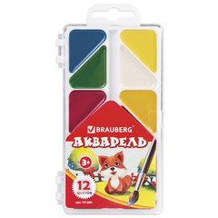 """Краски акварельные BRAUBERG """"Мозаика"""", 12 цветов, медовые, треугольные кюветы, пластиковая коробка, без кисти"""