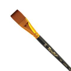 Кисть художественная ROUBLOFF (Рублев), синтетика, под колонок, плоская, № 20, короткая ручка
