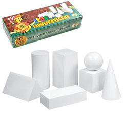 """Набор """"Геометрические тела"""", из натурального дерева, 7 предметов: куб, шар, конус, 2 призмы, цилиндр"""