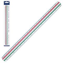 Линейка масштабная 6 шкал STAEDTLER (Штедлер, Германия), 30 см, 1:20/25/50/75/100/125, трехгранная