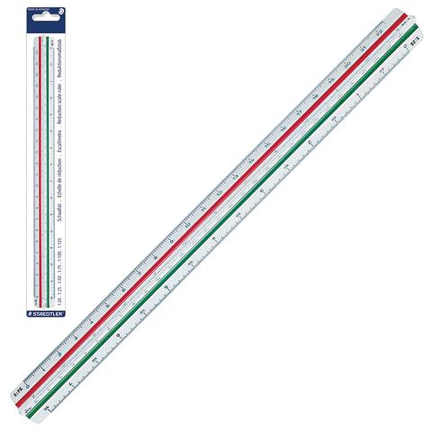 Линейка масштабная 30 см, 6 шкал, пластиковая, STAEDTLER (Германия), 1:20/25/50/75/100/125, трехгранная