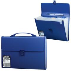 Портфель пластиковый BRAUBERG, А4, 332х245х35 мм, 13 отделений, текстура, пластиковый индекс, темно-синий