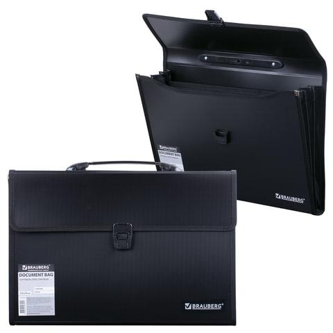 Портфель пластиковый BRAUBERG, 390х260х40 мм, 3 отделения, с окантовкой, черный