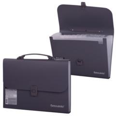 """Портфель пластиковый BRAUBERG """"Comfort"""", А4, 327х254х30 мм, 13 отделений, пластиковый индекс, темно-серый"""