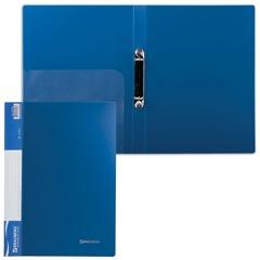 Папка на 2 кольцах BRAUBERG (БРАУБЕРГ), стандарт, 25 мм, синяя, до 120 листов, 0,8 мм