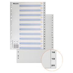 Разделитель пластиковый BRAUBERG для папок А4, цифровой 1-20, с оглавлением, серый, Китай