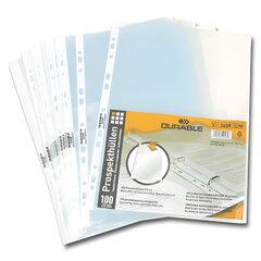 """Папки-файлы перфорированные, А4, DURABLE (Германия), комплект 100 шт., """"апельсиновая корка"""", 0,05 мм"""
