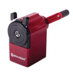 Точилка механическая BRAUBERG, металлический механизм, черный/бордовый