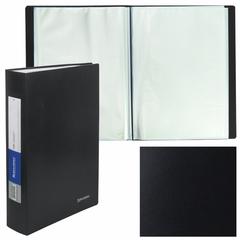 Папка 100 вкладышей BRAUBERG (БРАУБЕРГ) бюджет, черная, 0,8 мм