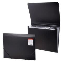 """Папка на резинках ERICH KRAUSE """"Standard"""", А4, 6 отделений, пластиковые индексные ярлычки, черная, 0,5 мм"""
