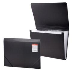"""Папка на резинках ERICH KRAUSE """"Standard"""", А4, 13 отделений, пластиковые индексные ярлычки, черная, 0,5 мм"""