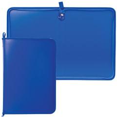 Папка на молнии пластиковая, А4, матовая, синяя, размер 320х230 мм