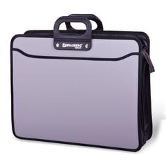 Портфель пластиковый BRAUBERG портфолио, А3, 470х380х130 мм, 3 отделения, на молнии, серый