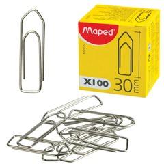 Скрепки MAPED (Франция), 30 мм, металлические, 100 шт., в картонной коробке
