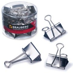 """Зажимы для бумаг BRAUBERG (БРАУБЕРГ), комплект 24 шт., 41 мм, на 200 л., цвет """"серебро"""", в пластиковом цилиндре"""