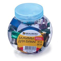 Зажимы для бумаг BRAUBERG, комплект 19 мм/15 шт., 25 мм/10 шт., цвет металлик, в пластиковой банке