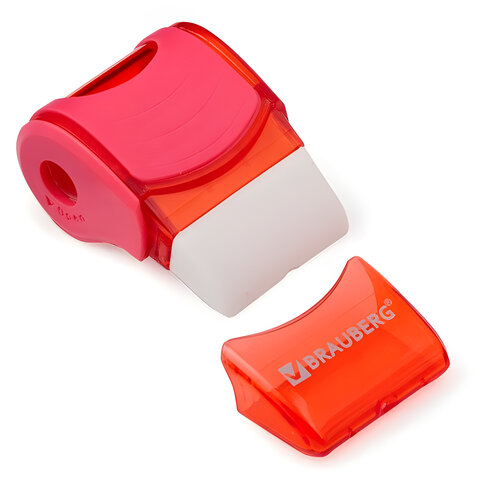 """Точилка BRAUBERG """"Referee"""", с контейнером и стирательной резинкой, ассорти, форма свистка, упаковка с подвесом"""