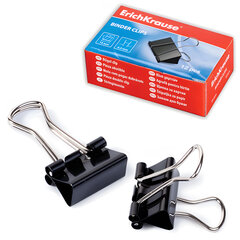 Зажимы для бумаг ERICH KRAUSE, комплект 12 шт., 15 мм, на 45 л., черные, в картонной коробке