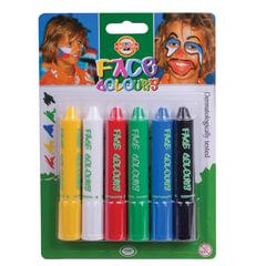 Грим для лица KOH-I-NOOR, 6 цветов (белый, желтый, красный, синий, зеленый, черный), блистер с европодвесом