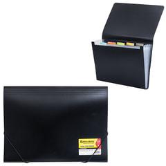 """Папка на резинках BRAUBERG """"Business"""" (БРАУБЕРГ """"Бизнес""""), А4, 6 отделений, пластиковый индекс, черная, 0,5 мм"""
