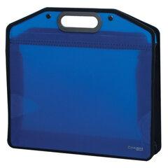 """Сумка пластиковая BRAUBERG """"Income"""" (БРАУБЕРГ """"Инком""""), А4, 370х340х110 мм, без отделений, тонированная, синяя"""