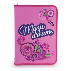 """Папка для труда BRAUBERG (БРАУБЕРГ), А4, пластик, молния вокруг, цветная печать, для девочек, """"Мечта"""""""