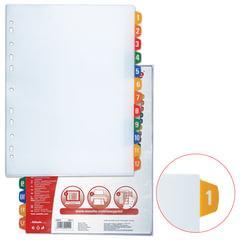 Разделитель документов для папок пластиковый ESSELTE, А4+, цифровой 1-12, с прозрачным оглавлением