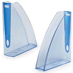 """Лоток вертикальный для бумаг LEITZ """"Allura"""", ширина 75 мм, тонированный голубой, голубая вставка"""