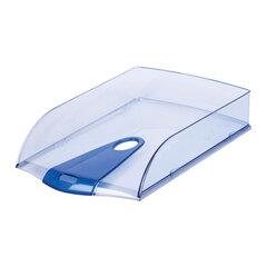 """Лоток горизонтальный для бумаг LEITZ """"Allura"""", тонированный голубой, голубая непрозрачная вставка"""