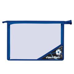 Папка для тетрадей BRAUBERG (БРАУБЕРГ), А4, пластик, молния сверху, цветной уголок, для мальчиков, черно-синяя, футбол