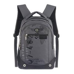 """Рюкзак GRIZZLY для старшеклассников/студентов/молодежи, серый, """"Цифры"""", 25 литров, 28х44х21см"""