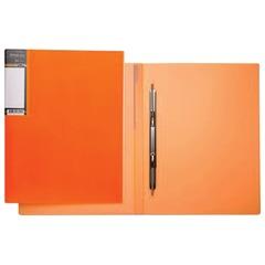 """Папка с металлическим пружинным скоросшивателем HATBER HD, пластик, """"Неоново-оранжевая"""", до 100 л.,0,9 мм, AH4 02035"""