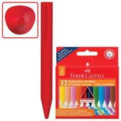 """Восковые мелки FABER-CASTELL """"GRIP"""", 12 цветов, стираемые, картонная упаковка с европодвесом"""