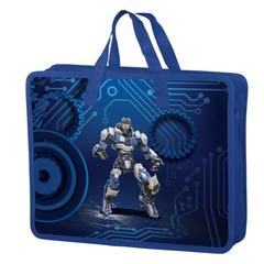 Папка-сумка BRAUBERG (БРАУБЕРГ), А4, на молнии с ручками, пластик, цветная печать, для мальчиков, робот, 33х26 см