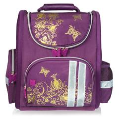 """Ранец жесткокаркасный BRAUBERG, для учениц начальной школы, """"Цветы"""", фиолетовый, 16 литров, 28х14х32 см"""