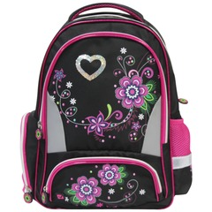 """Рюкзак BRAUBERG для учениц начальной школы, """"Цветы"""", 20 литров, 42х28х15 см"""