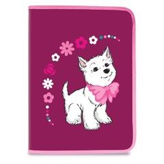 Папка для труда BRAUBERG (БРАУБЕРГ), А4, пластик, молния вокруг, цветная печать, для девочек, бордовая, щенок