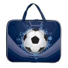 Папка-сумка BRAUBERG PREMIUM (БРАУБЕРГ ПРЕМИУМ), A4, на молнии с ручками, ткань, для мальчиков, мяч, 33х26 см