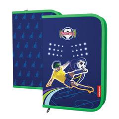 """Пенал ERICH KRAUSE, 1 отделение, откидные планки, для учеников начальной школы, """"Soccer Club"""", 20х13 см"""