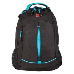 Рюкзак WENGER для старшеклассников/студентов, универсальный, черный, бирюзовые вставки, 22 л, 32х15х46 см