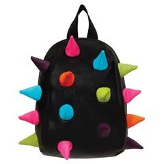 """Рюкзак MADPAX """"Rex Pint Mini 2"""", молодежный, мини, 5 л, черный, """"Цветные шипы"""", 26х19х10 см"""