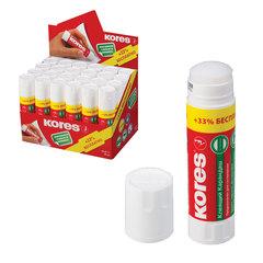 Клей-карандаш KORES (бумага, картон, текстиль), 20 г, +33% бесплатно, картонный дисплей